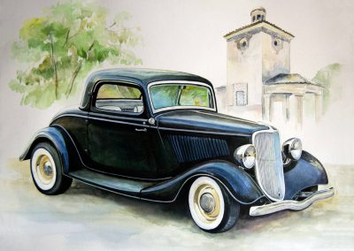 Classic car paintings of 1934 Ford Coupe