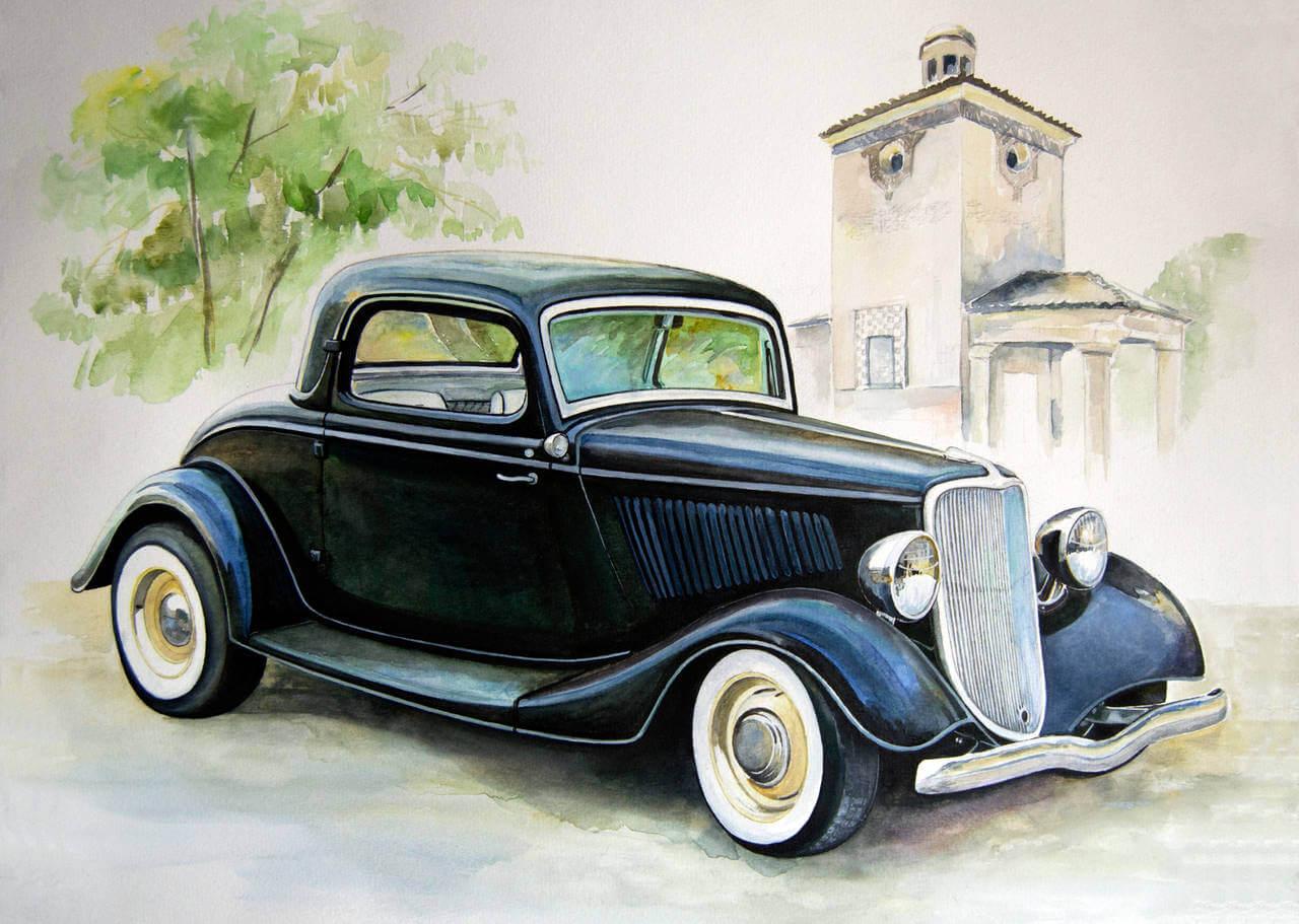 Vintage Car Paintings Art