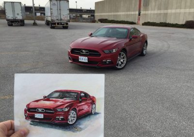 Burgundy Ford Mustang car artwork