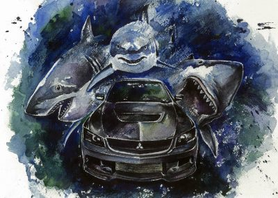 Automotive artwork with sharks