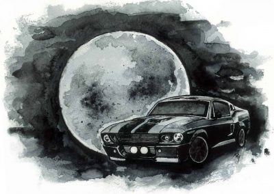 Drawing of classic Mustang art
