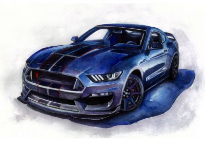 Ford Mustang Watercolor art