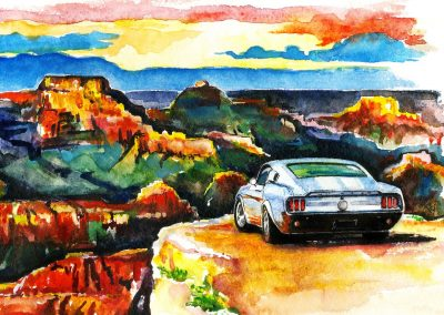 Automotive artwork Ford Mustang and Grand Canyon