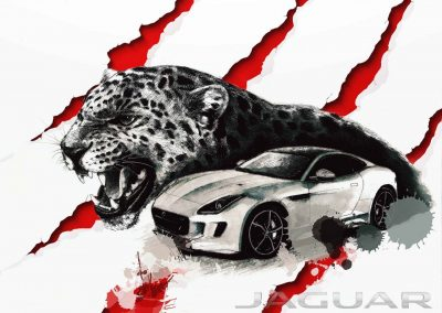 Jaguar car art, watercolor paintings