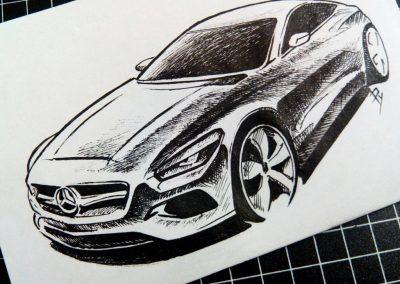 Pencil car art Mercedes Benz