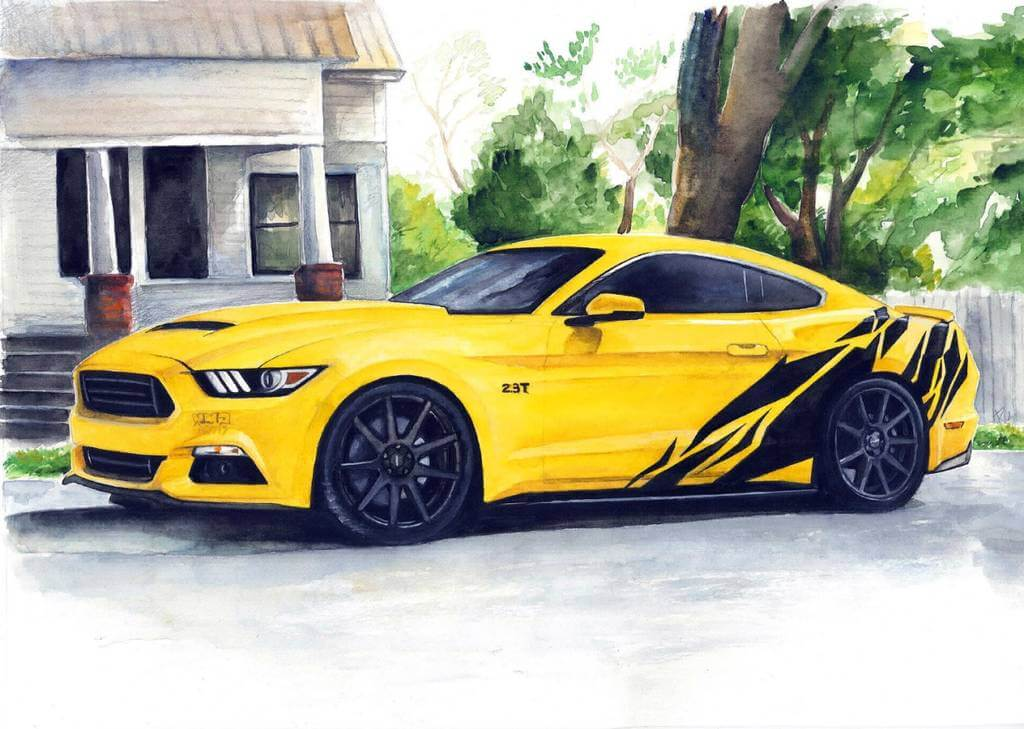 Car Paintings Automotive Art Drawing Draw My Car