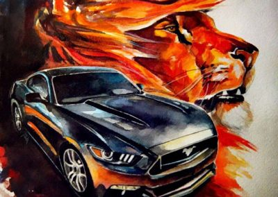 Automobile artwork: Mustang and wild lion