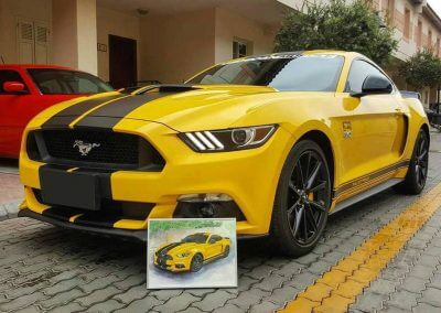 American auto art of Ford Mustang GT