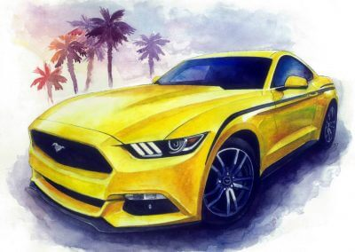 Yellow Mustang unique watercolor portrait