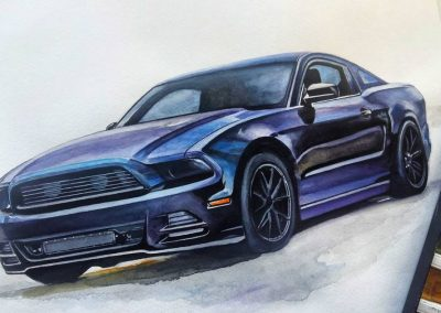 How to draw a muscle car Ford Mustang