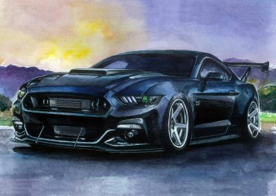 Order muscle car artwork black Mustang 5.0