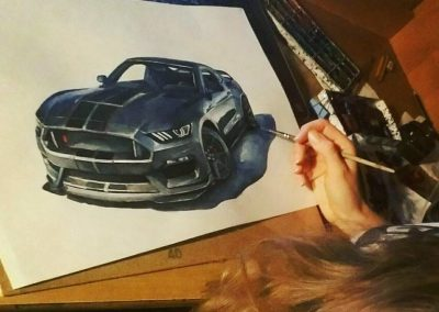 Muscle cars drawings process