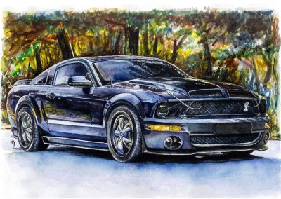 Ford Mustang Watercolor Paintings